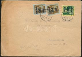 1945 (5. díjszabás) Távolsági levél Kisegítő 100P/12f + 2x 10P/12f bélyeggel bérmentesítve