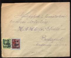 1945 (5. díjszabás) Távolsági levél Kisegítő 20P/30f + 100P/12f bélyeggel bérmentesítve