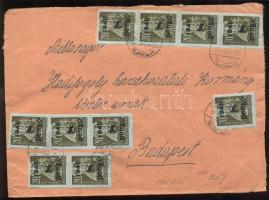 1945 (5. díjszabás) Távolsági levél Kisegítő 20x 2P/4f + 10x 8P/20f bélyeggel bérmentesítve
