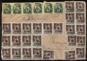 1945 (5. díjszabás) Távolsági levél 63 db Kisegítő bélyeggel (2 féle) bérmentesítve