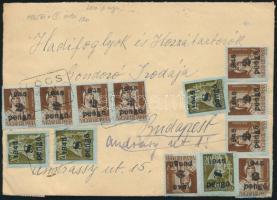 1945 (5. díjszabás) Távolsági levél 40 db Kisegítő bélyeggel bérmentesítve LÓCS POSTAÜGYN. bélyegzéssel