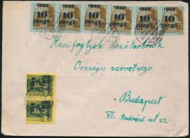 1945 (5. díjszabás) Távolsági levél Kisegítő 12x 5P/8f + 6x 10P/80f bérmentesítéssel