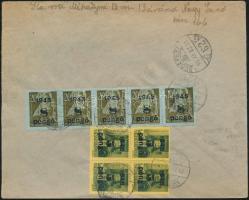 1945 (5. díjszabás) Távolsági levél Kisegítő 5x 8P/40f + 4x 5P/8f bélyeggel tévesen az előző díjszabás szerinti bérmentesítéssel