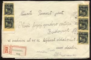 1945 (5. díjszabás) Távolsági ajánlott levél Kisegítő 38x 9P/1f bérmentesítéssel