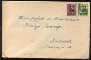 1945 (5. díjszabás) Távolsági levél Kisegítő 20P/30 + 100P/12f bérmentesítéssel