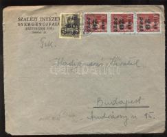 1945 (5. díjszabás) Távolsági levél Kisegítő 3x 20P/30f + 60P/18f bérmentesítéssel