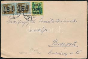 1945 (5. díjszabás) Távolsági levél Kisegítő 2x 10P/30f + 100P/12f bérmentesítéssel