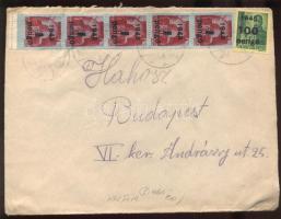 1945 (5. díjszabás) Távolsági levél Kisegítő 5x 4P/30f + 100P/12f bérmentesítéssel