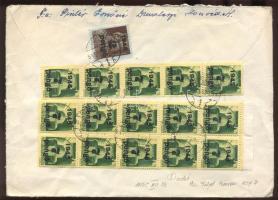 1945 (5. díjszabás) Távolsági levél Kisegítő 7P/1P + 2P/4f bélyeggel alulbérmentesítve