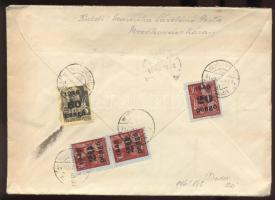 1945 (5. díjszabás) Távolsági levél 3x 20P/30f + 60P/18f bérmentesítéssel