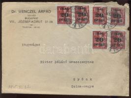 1945 (5. díjszabás) Távolsági céges levél 6x 20P/30f bérmentesítéssel