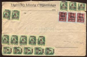 1945 (5. díjszabás) Távolsági levél 60x 1P/1P (összefüggő 45-ös tömbben is) + 3x 20P/30f bérmentesítéssel (a boríték tetejéből vékonyan levágva)