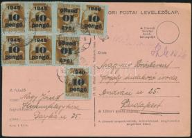 1945 (5. díjszabás) Távolsági levelezőlap Kisegítő 8x 10P/80f bérmentesítéssel