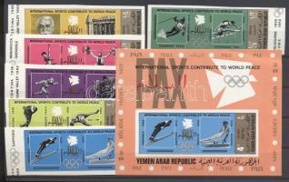 1971 Nemzetközi sportjátékok vágott sor Mi 1295-1300 + vágott blokk 153B
