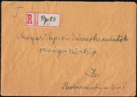 1946 (8. díjszabás) Ajánlott helyi levél 250gr-ig Lovasfutár bélyegekkel 2000P túlbérmentesítéssel, kézzel írt ajánlási ragjeggyel