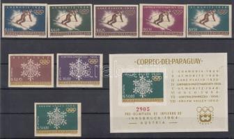 1963 Nemzetközi sportegyüttműködés vágott sor Mi 1200-1207 + vágott blokk Mi 39