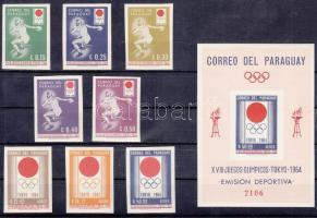1964 Tokiói nyári olimpia vágott sor Mi 1273-1280 + vágott blokk Mi 51