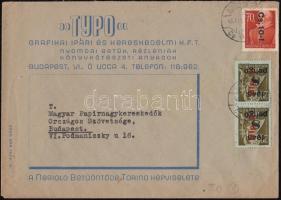 1946 (8. díjszabás) Helyi céges levél Betűs Cs.10-I./70f + 2x Hlp.2./8P bérmentesítéssel