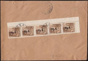 1946 (8. díjszabás) Távolsági levél Betűs I. 5x Tl.I./10f tévesen a 7. díjszabás szerinti bérmentesítéssel