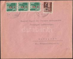 1946 (8. díjszabás) Távolsági levél Betűs II. Tlp.2./4f + 3x Ajl.2./12f bérmentesítéssel
