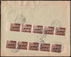 1946 (8. díjszabás) Távolsági levél 10x Betűs Tlp.2./4f bérmentesítéssel
