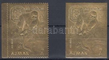 1968 Téli olimpia, Grenoble aranyfóliás fogazott és vágott bélyeg Mi 224 A-B