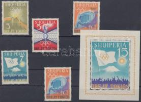 1964 Nyári olimpia, Tokió (III) sor Mi 823-826 + Bélyegkiállítás felülnyomott bélyeg 838 + blokk Mi 22