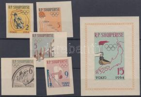1963 Nyári olimpia 1964, Tokió (II) vágott sor Mi 747-751 B + vágott blokk Mi 19 B