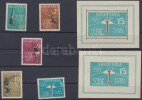 1962 Nyári olimpia 1964, Tokió (I) sor Mi 657-661 A + fogazott és vágott blokk Mi 8 A-B