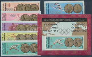 1968 Olimpiai aranyérmesek sor Mi 796-801 + vágott blokk Mi 78
