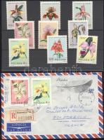 1965 Orchideák sor Mi 1612-1620 + Mi 1615 és 1618 ajánlott légi filatelista levélen Franciaországba