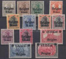 Generalgouvernement Belgium 1914 Forgalmi bélyeg sor Mi 10-13 + 17-25