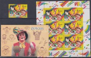 2002 Europa CEPT: Cirkusz bélyeg + kisív + ajándék füzet Mi 987