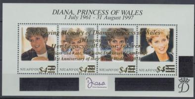 2012 Lady Diana emlékére, Vilmos herceg és Kate Middleton első házassági évfordulója felülnyomott blokk