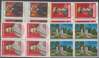 1977 Nemzeti hősök sor négyestömbökben Mi 829-832
