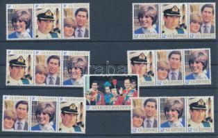 1981 Diana és Károly herceg esküvője sor Mi 225-231 + 2x 225-230 4 db 3-as csíkban