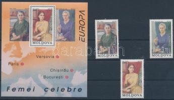 1996 Europa CEPT: Híres nők sor + blokkból kitépett bélyeg Mi 210-212 + blokk Mi 9