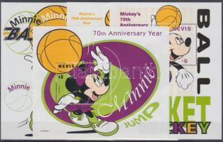 1998 Disney: 70 éves Mickey egér blokksor Mi 152-155