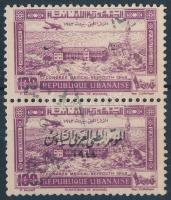 1943 Gyógyszerészeti kongresszus Mi 281 párban, egyik bélyeg felülnyomás nélkül /Mi 281 pair one stamp without overprint