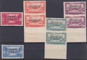 1943 Gyógyszerészeti kongresszus Mi 277-278 vágott falcos szimpla + Mi 279-281 postatiszta vágott párokban