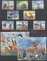 1986 Bélyegkiállítás - AMERIPEX 86; Walt Disney sor Mi 1175-1182 + blokk pár Mi 118-119
