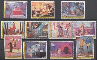 1992 Walt Disney: Goofy 50 éves sor Mi 1817-1827 + blokk sor Mi 263-265