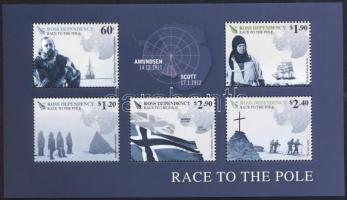 Déli-sark expedíciók Amundsen és Scott blokk Shouth Pole Expeditions, Amundsen and Scott set+block