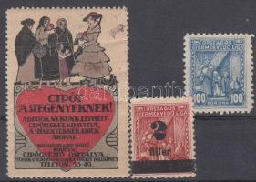 1914 Jótékonysági segélybélyegek 3 db klf