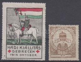 1915-1920 Hadi kiállítás Debrecen és Magyar Nemzeti Hadsereg 2 klf levélzáró