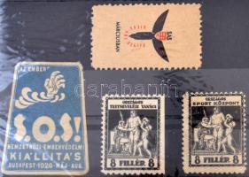1926 S.O.S. Embervédelmi kiállítás 2 klf levélzáró + 2 db Sport levélzáró