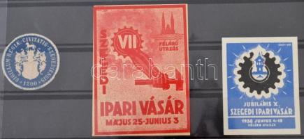 1935-1936 Szegedi Ipari vásár 3 klf levélzáró