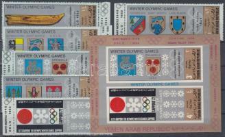 1968 Téli olimpiai helyszínek címerei sor Mi 818-823 + blokk Mi 82