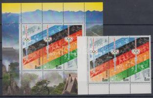 2008 Nyári olimpia: Peking ívsarki hármascsík Mi 1458-1460 + blokk Mi 109