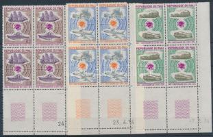 1974 100 éves az UPU sor ívsarki alsó üresmezős négyestömbökben Mi 437-439